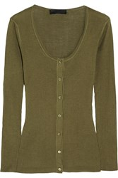 Burberry Ribbed Knit Silk Top Green