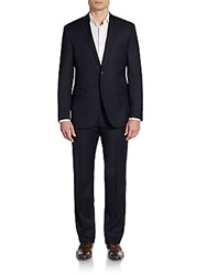 Saks Fifth Avenue Red Trim Fit Striped Wool Suit Black Blue Stripe