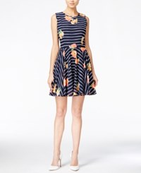 Maison Jules Floral Print Fit And Flare Dress Only At Macy's Blu Notte Combo