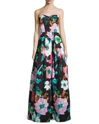 Milly Floral Sweetheart Ball Gown Black