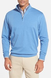 Men's Peter Millar Interlock Quarter Zip Sweatshirt Scottish Blue