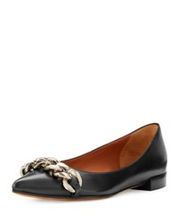 Givenchy Chain Point Toe Leather Skimmer Black