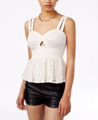 Material Girl Juniors' Lace Cutout Peplum Top Only At Macy's Egret