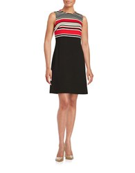 Calvin Klein Plus Striped Sheath Dress Black Multi