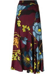 Marni High Waisted Floral Skirt Red
