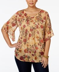 Styleandco. Style Co. Plus Size Floral Print Pleated Blouse Only At Macy's Fay Florals