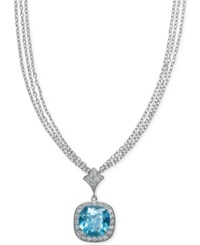 B. Brilliant Aquamarine 13 Ct. T.W. And Cubic Zirconia Pendant Necklace In Sterling Silver