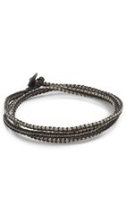 Caputo And Co. Macrame Knotted Triple Wrap Bracelet Grey Black