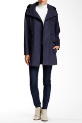 Andrew Marc New York Carissa Faux Fur Trimmed Military Coat Blue
