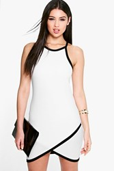 Boohoo Contrast Colour Wrap Skirt Bodycon Dress Ivory