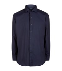 Peter Millar Silk Touch Herringbone Shirt Male Navy