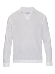 Orlebar Brown Ridley Long Sleeved Linen Shirt White