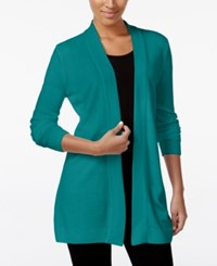 Karen Scott Open Front Sweater Cardigan Only At Macy's Only At Macy's Teal Shimmer