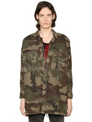 Faith Connexion Camouflage Print Military Canvas Jacket