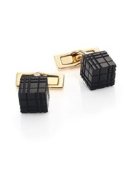 Burberry Brass And Enamel Cube Check Cuff Links
