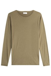 Closed Long Sleeved Cotton Top With Cashmere Green