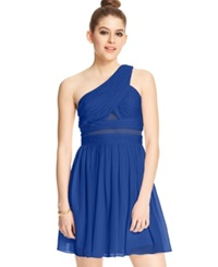Hailey Logan By Adrianna Papell Juniors' One Shoulder Illusion Panel Dress Electric Blue