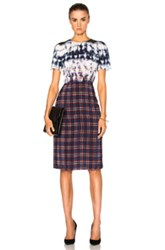 Altuzarra Glaze Dress In Blue Checkered And Plaid Ombre And Tie Dye Blue Checkered And Plaid Ombre And Tie Dye