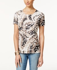 Jm Collection Petite Short Sleeve Printed Jacquard T Shirt Only At Macy's Netural Elevated