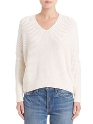 Vince Rib Knit Drop Shoulder Sweater Off White