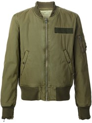 R 13 R13 Distressed Bomber Jacket Green
