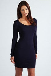 Boohoo Long Sleeve Scoop Neck Bodycon Dress Navy