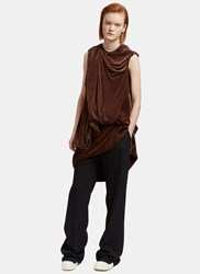 Rick Owens Long Velvet Draped Bundle Top Brown
