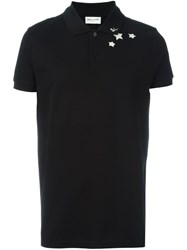 Saint Laurent Star And Initial Print Polo Shirt Black