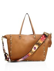 Valentino Guitar Strap Rockstud Rolling Reversible Leather Tote Cognac