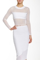 Donna Mizani Long Sleeve Banded Crop Top White