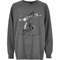 River Island Womens Ri Plus Grey Sequin Dinosaur Sweatshirt