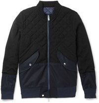 Sacai Panelled Cotton Blend And Quilted Wool Bomber Jacket Black