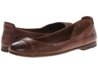 Frye Phillip Cap Toe Ballet Cognac Soft Vintage Leather Women's Flat Shoes Brown