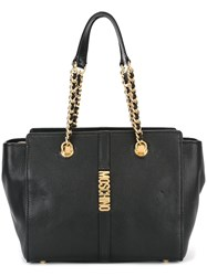 Moschino Double Chain Strap Shoulder Bag Black