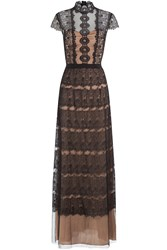 Catherine Deane Floor Length Gown With Lace Black