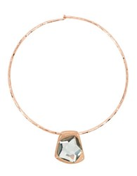 Robert Lee Morris Crystal Faceted Stone Sculptural Rose Goldplated Pendant Wire Collar Necklace
