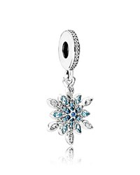 Pandora Design Dangle Charm Sterling Silver Cubic Zirconia And Crystal Blue Snowflake Moments Collection