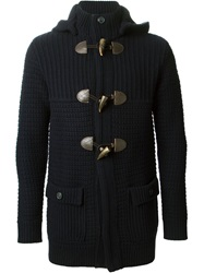 Armani Jeans Toggle Fastening Knitted Cardigan Blue
