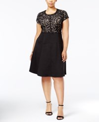 Ny Collection Plus Size Embellished Lace Fit And Flare Dress Night Hedgerow