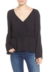 Leith Surplice Ruffle Top Black
