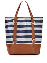 Ivanka Trump Alexis Striped Faux Leather Beach Bag Navy