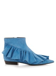 J.W.Anderson Ruffled Suede Ankle Boots Blue