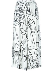 Emilio Pucci Illustrated Cropped Trousers White