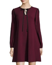 Taylor Plus Long Sleeve Crepe Trapeze Dress Wine