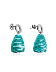 Antica Murrina Veneziana Marina 2 Turquoise Green Murano Glass And Silver Leaf Drop Earrings