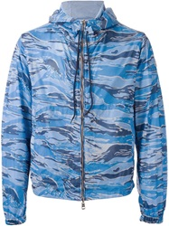 Moncler Camouflage Print Windbreaker Blue