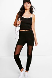 Boohoo Mesh Insert Leggings Black