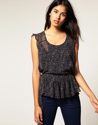 Kookai Pleat Front Spotty Top Black