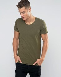 Jack And Jones Basic T Shirt With Raw Hem Detail Green