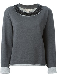 Michael Michael Kors Beaded Collar Sweatshirt Grey